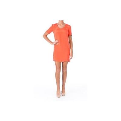 ドレス 女性  セオリー Theory 6813 レディース Gradin オレンジ シルク 半袖s カジュアル ドレス 4