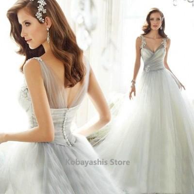 ライトグレーウェディングドレスVネックノースリーブAライン結婚式ドレス背開きセクシー花嫁ドレスチュール姫系ブライダル