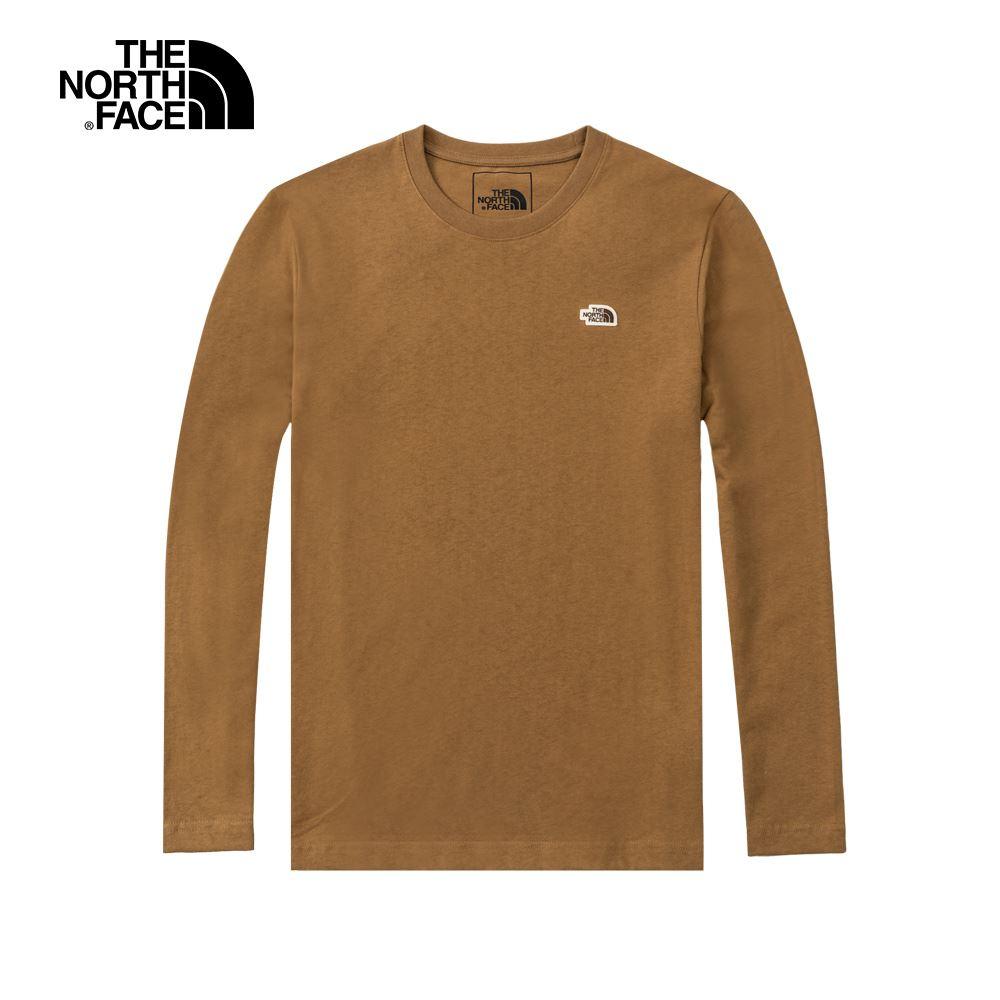 The North Face北面男女款卡其色圓領長袖T恤 4U8R173
