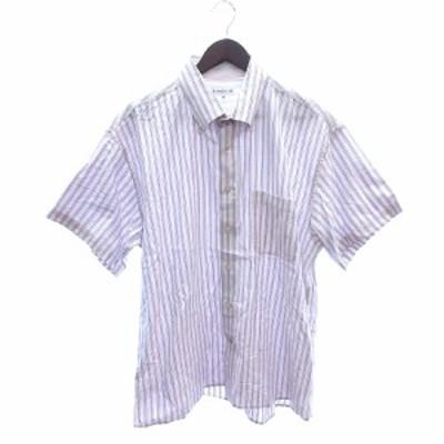 【中古】シンプルライフ SIMPLE LIFE ボタンダウンシャツ 半袖 ストライプ 3L ピンク /ST メンズ