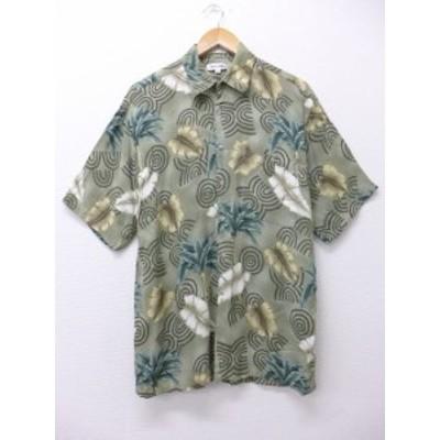 L★古着 ハワイアン シャツ ピエールカルダン ヤシの木 葉 レーヨン 緑