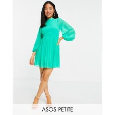 エイソス レディース ワンピース トップス ASOS DESIGN Petite high neck pleated long sleeve mini skater dress in emerald green Emer