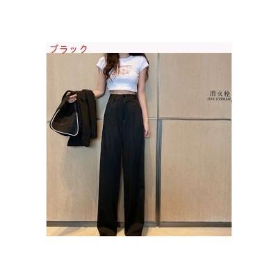 【送料無料】韓国風 レトロ ハイウエスト ドレープ ストレート スーツのズボン 女 夏 新し   364331_A62752-5482214