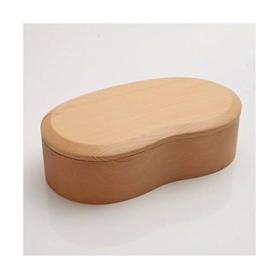 天然木製 くりぬき そらまめ弁当箱 白木