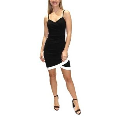 オールモストフェイマス レディース ワンピース トップス Juniors' Contrast-Trim Bodycon Dress Black/whit
