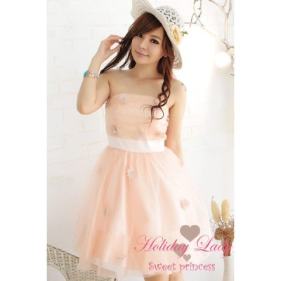 全3色 結婚式 パーティー 可愛い 花刺繍 ドレス ワンピース
