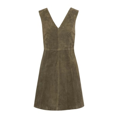 MUUBAA ミニワンピース&ドレス ミリタリーグリーン 6 山羊革 100% ミニワンピース&ドレス