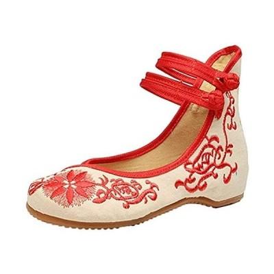 [デザイアルス] アンクルストラップ 花柄 刺繍 レディース 靴 ぺたんこパンプス フラット シューズ (レッド23.5cm 23.5 cm)