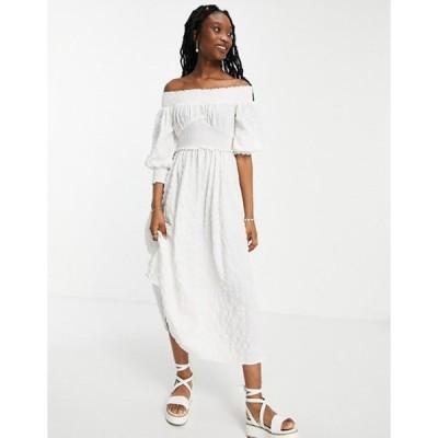 エイソス レディース ワンピース トップス ASOS DESIGN off shoulder shirred waist textured maxi dress in white