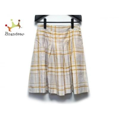 マーガレットハウエル スカート サイズ3 L レディース ライトグレー×アイボリー×イエロー   スペシャル特価 20200923