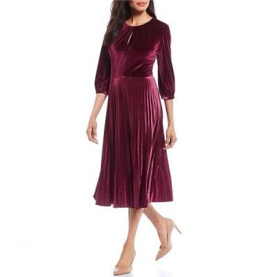 マギーロンドン レディース ワンピース トップス Petite Size Velvet 3/4 Sleeve Pleated Midi Dress Port