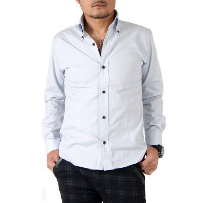 【サンタリート】 日本製ブロードデュエボタンダウンシャツ(GW-A8629) メンズ シルバー LLLL SantaReet