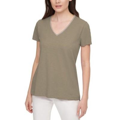 ダナキャランニューヨーク カットソー トップス レディース Embellished V-Neck Cotton T-Shirt Dark Sage