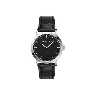 ストゥーリングオリジナル 腕時計 Stuhrling Original Men's Quartz Symphony Black Leather Strap Black