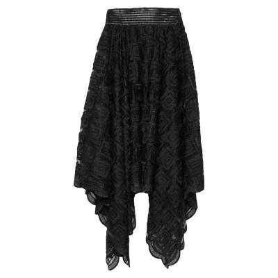 プレイン・スッド PLEIN SUD 7分丈スカート ブラック 38 ポリエステル 100% / コットン / ポリウレタン / レーヨン 7分丈ス
