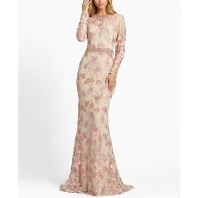 マックダガル ワンピース トップス レディース Floral Embellished Embroidered Gown Rose Pink