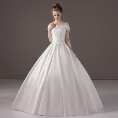 【Aライン】ウェディングドレス/ウエディングドレス/ロングドレス/オフショルダー/編み上げ/ホワイト/S~XL/wd55m