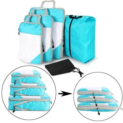 超ポータブルビジネス旅行圧縮収納バッグ5つセット出張旅行仕上げ収納袋服スペースを節約衣類圧縮バッグ圧縮トラベルバッグシューズバッグランドリーバッグ (ブ