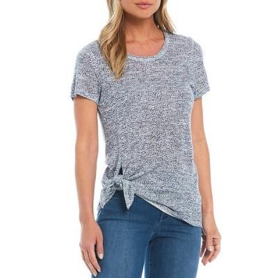 ボベー レディース Tシャツ トップス Dot Print Jewel Neck Short Sleeve Side Tie Tee