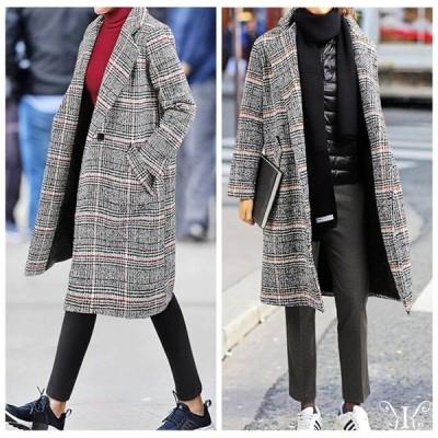 コート レディース 秋冬 膝丈 大きいサイズ 棉 裹里有 チェック柄 大人カジュアル