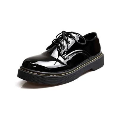 [NOFALL] 靴 シューズ レディース マニッシュ レースアップ 可愛い おしゃれ 人気 ラウンドトゥ エナメル (ブラックエナメル L)