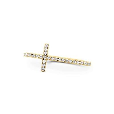 Social Value 14K Yellow Gold Natural Diamond Sideways Cross Statement Ring