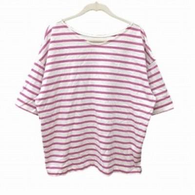 【中古】スタディオクリップ スタジオクリップ Tシャツ カットソー 五分袖 ボートネック ボーダー L 白 ホワイト 紫