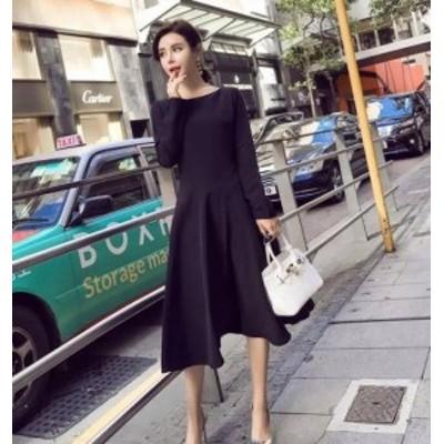 シンプルシックな黒のフレアスカートミモレ丈ワンピースドレス d0138
