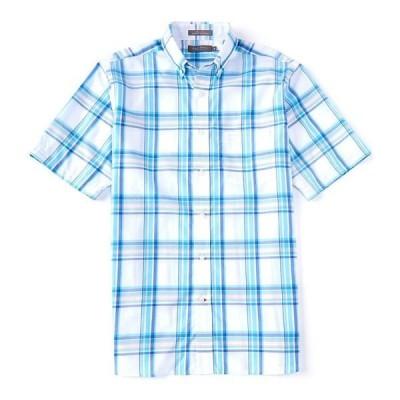 クレミュ メンズ シャツ トップス Daniel Cremieux Signature Plaid Short-Sleeve Woven Shirt White