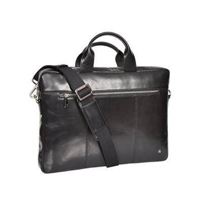 Laptop Briefcase Real Leather Business Bag Organiser Messenger Satchel Black New - Nice 並行輸入品