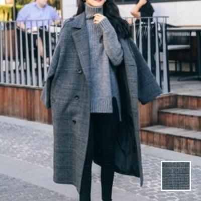 韓国 ファッション レディース アウター コート 春 秋 冬 新作 カジュアル naloJ258  グレンチェック オーバーサイズ マキシ丈 シンプル