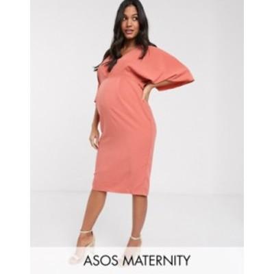 エイソス レディース ワンピース トップス ASOS DESIGN Maternity exclusive pleat detail midi pencil dress in terracotta Terracotta