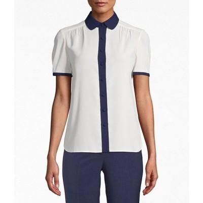 アンクライン レディース シャツ トップス Short Sleeve Peter Pan Collar Button Front Contrast Trim Blouse