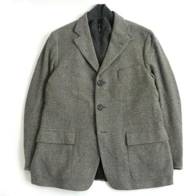 美品□CORNELIANI コルネリアーニ メリノウール×カシミヤ 織柄 ロゴボタン レイヤードジャケット グレー 52 イタリア製 正規品