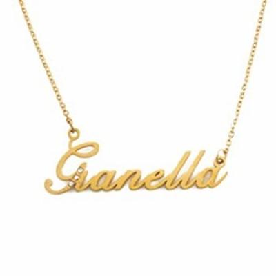 Italic Gianella ネームネックレス ゴールドトーン パーソナライズされた上品なネックレス ? ジュエリーギフト 女性 彼女 母 姉妹 友人