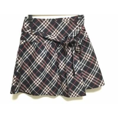 バーバリーブルーレーベル 巻きスカート サイズ36 S レディース 美品 - 黒×ピンク×マルチ ミニ/チェック柄【中古】20200909