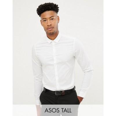 エイソス ASOS DESIGN メンズ シャツ スリム トップス Tall smart stretch slim fit work shirt in white ホワイト