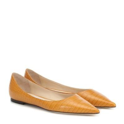 ジミー チュウ Jimmy Choo レディース スリッポン・フラット シューズ・靴 Love croc-effect leather ballet flats Ocra
