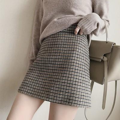 スカート レディース ひざ丈スカート ハイウエスト おしゃれ 通勤 格子柄 可愛い 20代 30代 40代