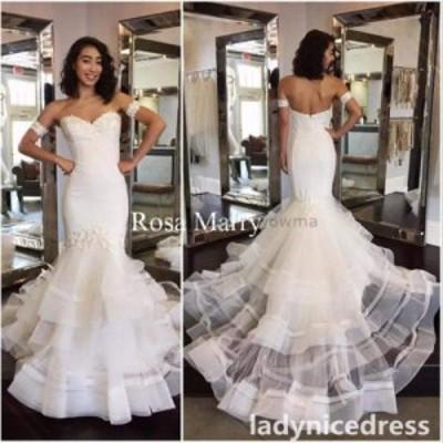 ウェディングドレス/ステージ衣装 オフショルダーマーメイドレースオーガンジービーズのウェディングドレスホワイト/アイボリーのブライ