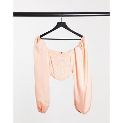 ミスガイデッド Missguided レディース ベアトップ・チューブトップ・クロップド トップス corset top with balloon sleeve in blush satin ピンク