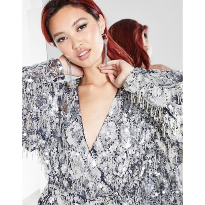 エイソス ミニドレス レディース ASOS EDITION sequin fringe wrap mini dress in silver エイソス ASOS シルバー 銀