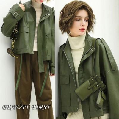 グリーン系PU皮ブルゾン 上着 アウター ジャケット 羽織 革ジャン 長袖 グリーン緑 カーキ色 レディース PU皮 クール 大人 デイリー
