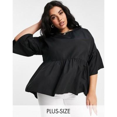 シンプリー ビー レディース シャツ トップス Simply Be smock top with frill sleeves in black