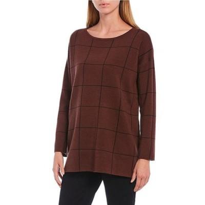 エイリーンフィッシャー レディース パーカー・スウェット アウター Fine Merino Bateau Neck Windowpane Plaid Long Sleeve Boxy Sweater Tunic