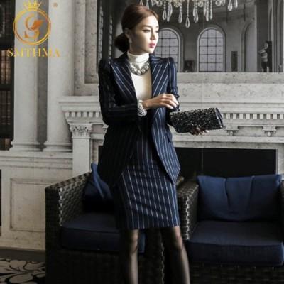 ワンピーススーツ レディース 卒業式 入園式 高品質 ストライプ 均一なデザイン 女性 スーツジャケット オフィス ドレスセット