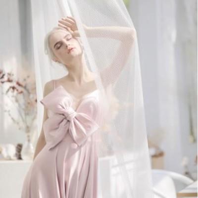 ウェディングドレス 大きいサイズ ウェディング カラードレス パーティードレス リボン 結婚式 お色直し ピンク 小さいサイズ 韓国