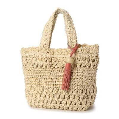 リム LIMP ウッドタッセル付き透かし編みトートバッグ (アイボリー)