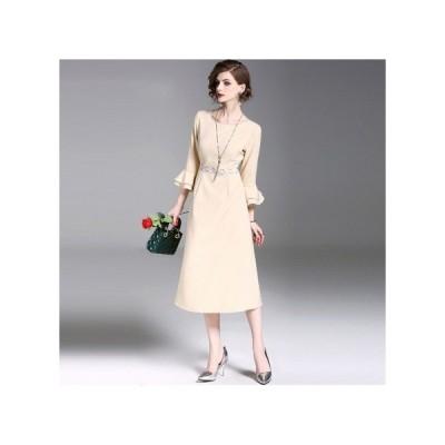 パーティードレス ミモザ丈 スカート 袖 レース フレア レディース ワンピース 結婚式 二次会 お呼ばれドレス kh-0250