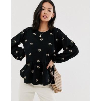 エイソス レディース カットソー トップス ASOS DESIGN smock with long sleeve in floral embroidery Black